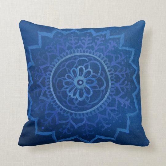 Blue mandala Throw Cushion 41 cm x 41