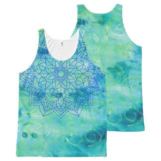 Blue Mandala Turquoise  Monoprint Tank