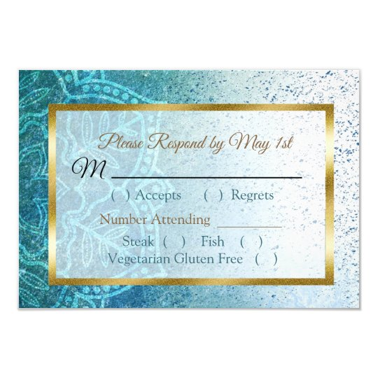 Blue Mandala Wedding RSVP card