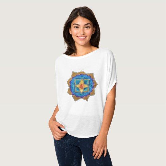 Blue Mandala Women's Circle Top, White T-Shirt
