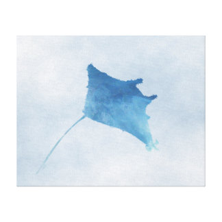 "Blue Manta Ray Print - Canvas (20""x16"")"