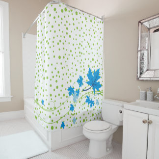 Blue maple leaves and green polka dots modern shower curtain
