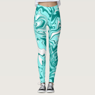 Blue marble abstract effect leggings. leggings