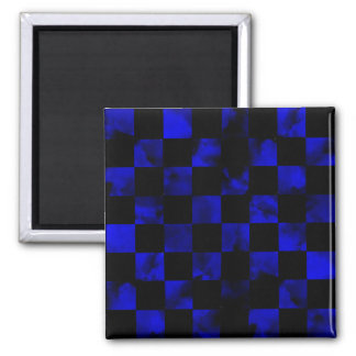 Blue marble Checkerboard Square Magnet