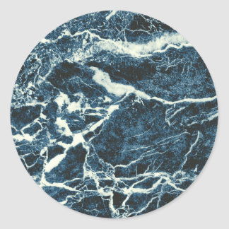 Blue marble classic round sticker