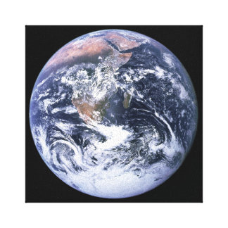 Blue Marble Earth on Black Canvas Print