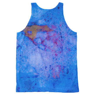 Blue marble effect All-Over print tank top