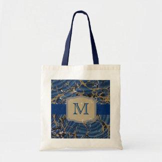 Blue Marble Elegant Monogram Tote