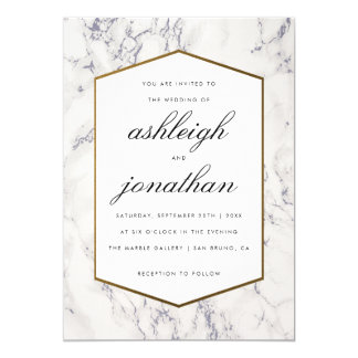 Blue Marble & Gold Border | Typography Wedding Card