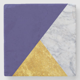 Blue + Marble Gold Stone Coaster