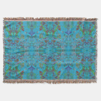 Blue Marble Painting Pattern Throw Rug