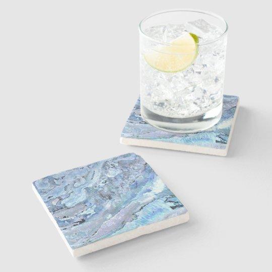 blue marble stone coaster