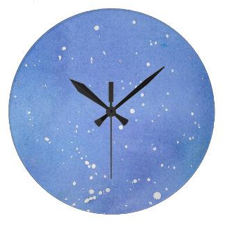 Blue Marble Watercolour Splat Large Clock