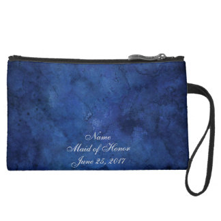 Blue Marble Wedding Suede Wristlet