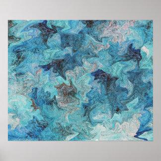 Blue Marbled Digital Expressionist Variation #1 Poster