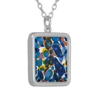 Blue Marbled Paper Square Pendant Necklace