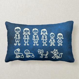 Blue Marine Chalkboard Family Doodles Lumbar Cushion