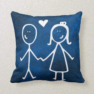 Blue Marine Chalkboard Loving Doodles Cushion