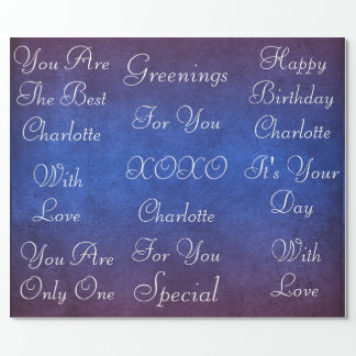Blue Marine Grungy White Velvet Personalized Wrapping Paper