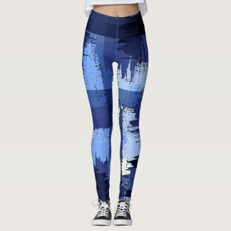 Blue Marine Military Abstract Camouflage Leggings