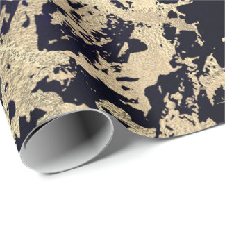 Blue Marine Molten Gold Marble Shiny Metallic Wrapping Paper