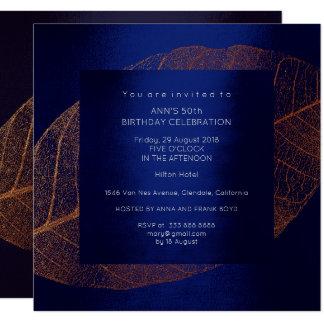 Blue Marine Pink Rose Gold Birthday Party 13 Cm X 13 Cm Square Invitation Card