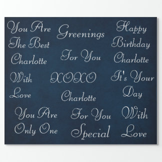Blue Marine White Chic Velvet Personalized Wrapping Paper
