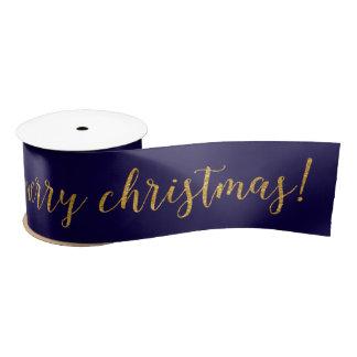 Blue Marine Yacht Golden Merry Christmas Satin Ribbon