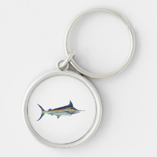 Blue Marlin keyring Silver-Colored Round Key Ring
