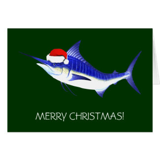 Blue Marlin Santa Claus Card