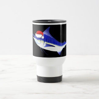 Blue Marlin Santa Claus Travel Mug