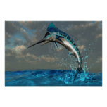 Blue Marlin Splash Print