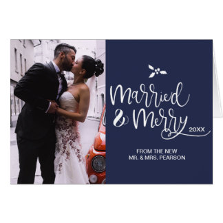 Blue, Married and Merry, Christmas, Photo Card