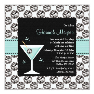 Blue Martini Diamond Bachelorette Party Invitation