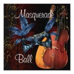 Blue Mask Musical Instruments  Masquerade Ball Inv 13 Cm X 13 Cm Square Invitation Card