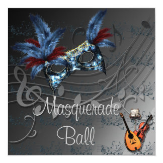 Blue Mask on Black Masquerade Ball Invitation