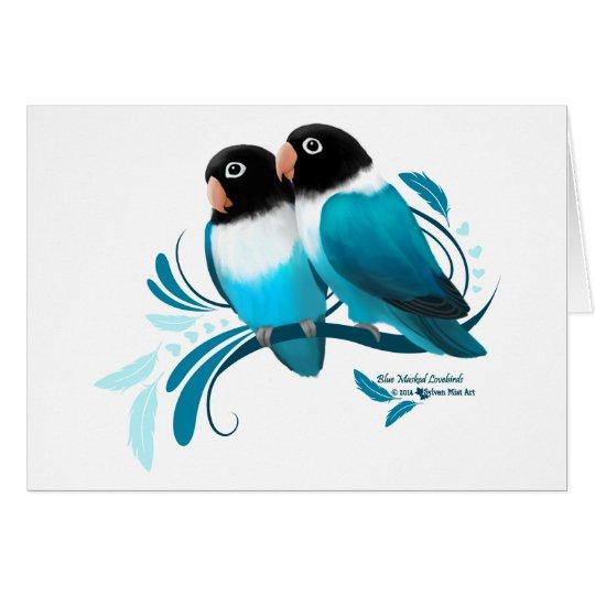 Blue Masked Lovebirds Card