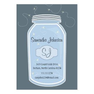 Blue Mason Jar & Fireflies Save the Date Business Card Template