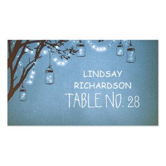 Blue Mason Jar Fireflies String Lights Escort Pack Of Standard Business Cards