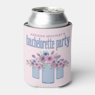 Blue Mason Jar Floral Bachelorette Party Can Cooler