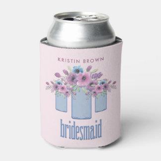Blue Mason Jar Floral Bridesmaid Can Cooler