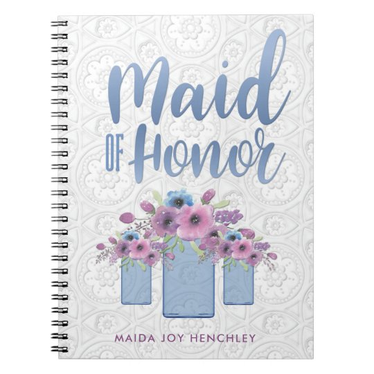 Blue Mason Jar Floral Maid of Honour Spiral