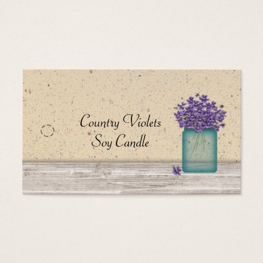 Blue Mason Jar Violets Hang Tag