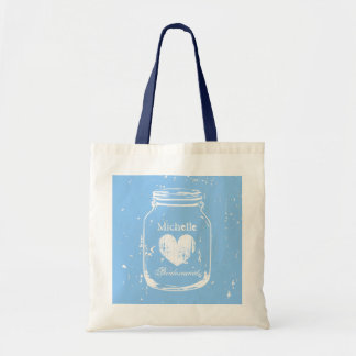 Blue mason jar wedding tote bag for bridesmaids