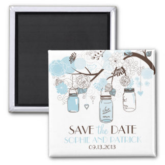 Blue Mason Jars & Flowers Save the Date Magnet