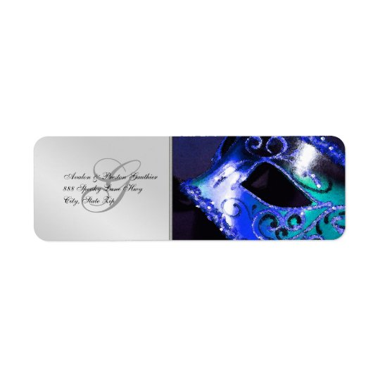 Blue Masquerade Halloween Address Labels