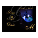 Blue Masquerade Mask Save The Date Postcard