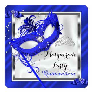 "Blue Masquerade Quinceanera 15th Birthday Party 2 5.25"" Square Invitation Card"