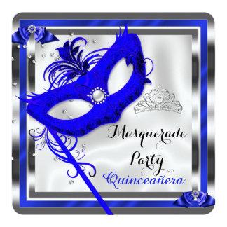 "Blue Masquerade Quinceanera 15th Birthday Party 5.25"" Square Invitation Card"