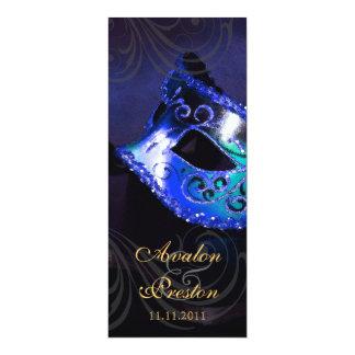 Blue Masquerade  Wedding Program Invitation